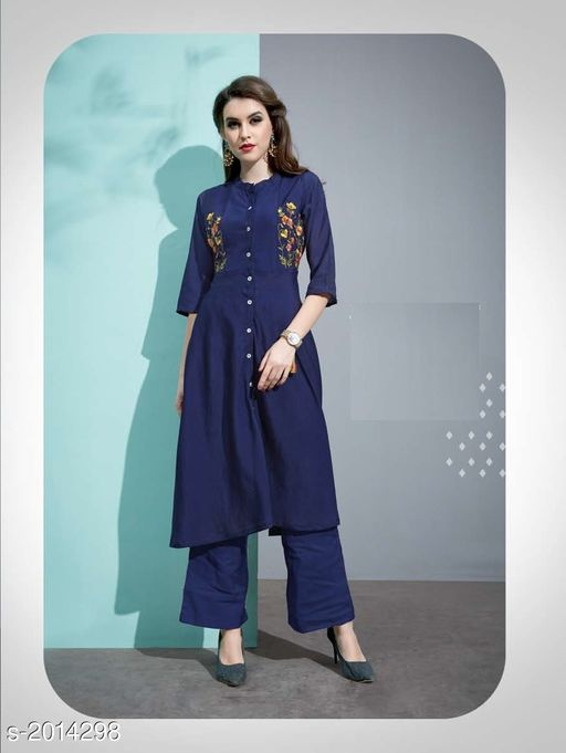 Kurta Sets Designer Pure Cotton Silk Kurta Set  *Fabric* Kurti - Pure Cotton Silk, Inner - Cotton, Palazzo - Pure Cotton Silk  *Sleeves* 3/4 Sleeves Are Included  *Size* Kurti - M - 38 in, L - 40 in, XL - 42 in, Palazzo - M - 30 in, L - 32 in, XL - 34 in  *Length* Kurti - Up To 45 in, Palazzo - Up To 40 in  *Type* Stitched  *Description* It Has 1 Piece Of Kurti with 1 Piece Of Palazzo  *Work* Kurti - Embroidery, Palazzo  *Sizes Available* M, L, XL   Catalog Rating: ★3.4 (20) Supplier Rating: ★3.8 (46) SKU: 7 Free shipping is available for this item. Pkt. Weight Range: 500  Catalog Name: Vaarahi Designer Pure Cotton Silk Kurta Sets Vol 1 - JV_DESIGNER Code: 509-2014298--
