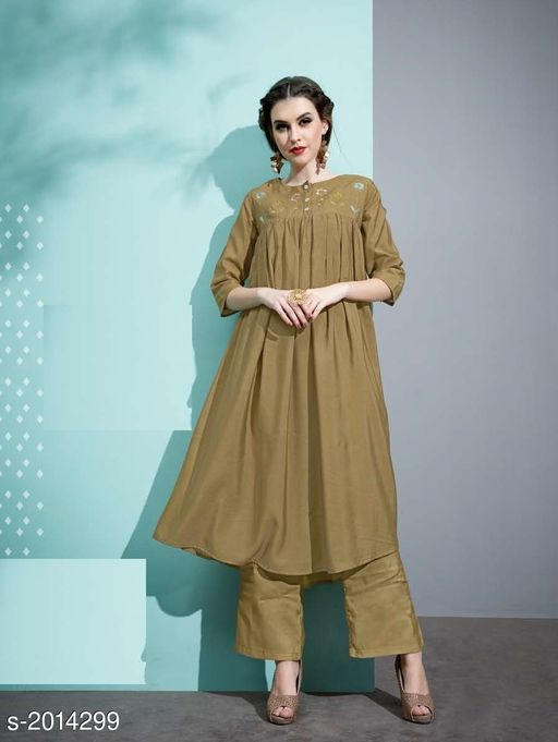 Kurta Sets Designer Pure Cotton Silk Kurta Set  *Fabric* Kurti - Pure Cotton Silk, Inner - Cotton, Palazzo - Pure Cotton Silk  *Sleeves* 3/4 Sleeves Are Included  *Size* Kurti - M - 38 in, L - 40 in, XL - 42 in, Palazzo - M - 30 in, L - 32 in, XL - 34 in  *Length* Kurti - Up To 45 in, Palazzo - Up To 40 in  *Type* Stitched  *Description* It Has 1 Piece Of Kurti with 1 Piece Of Palazzo  *Work* Kurti - Embroidery, Palazzo  *Sizes Available* M, L, XL   Catalog Rating: ★3.4 (20) Supplier Rating: ★3.8 (46) SKU: 8 Free shipping is available for this item. Pkt. Weight Range: 500  Catalog Name: Vaarahi Designer Pure Cotton Silk Kurta Sets Vol 1 - JV_DESIGNER Code: 509-2014299--