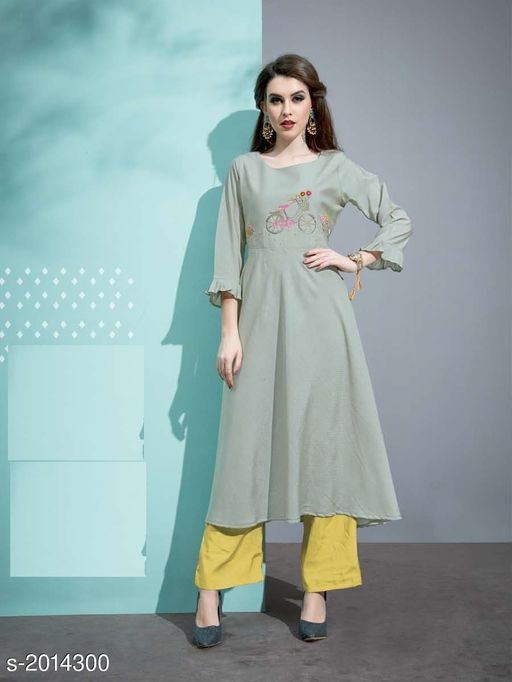 Kurta Sets Designer Pure Cotton Silk Kurta Set  *Fabric* Kurti - Pure Cotton Silk, Inner - Cotton, Palazzo - Pure Cotton Silk  *Sleeves* 3/4 Sleeves Are Included  *Size* Kurti - M - 38 in, L - 40 in, XL - 42 in, Palazzo - M - 30 in, L - 32 in, XL - 34 in  *Length* Kurti - Up To 45 in, Palazzo - Up To 40 in  *Type* Stitched  *Description* It Has 1 Piece Of Kurti with 1 Piece Of Palazzo  *Work* Kurti - Embroidery, Palazzo  *Sizes Available* M, L   Catalog Rating: ★3.4 (20) Supplier Rating: ★3.8 (46) SKU: 10 Free shipping is available for this item. Pkt. Weight Range: 500  Catalog Name: Vaarahi Designer Pure Cotton Silk Kurta Sets Vol 1 - JV_DESIGNER Code: 509-2014300--