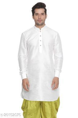 Vastramay Holi Special  Men's White Silk Blend Kurta  Men's White Silk Blend Kurta