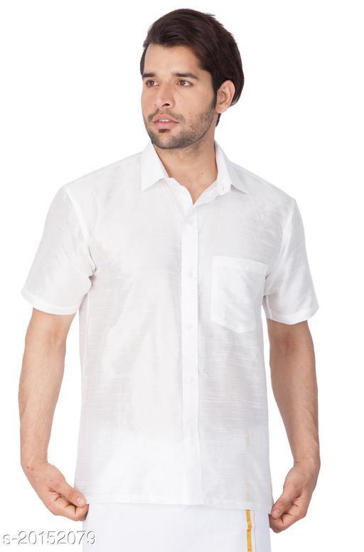 Vastramay Holi Special  Men's White Silk Blend Ethnic Shirt  Men's White Silk Blend Ethnic Shirt