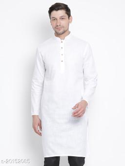 Vastramay Holi Special  Men's White Cotton Linen Blend Kurta  Men's White Cotton Linen Blend Kurta