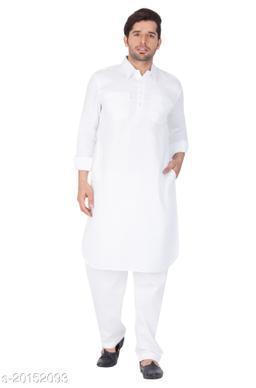 Vastramay Holi Special  Men's White Cotton Pathani Suit Set  Men's White Cotton Pathani Suit Set