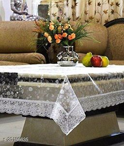 PVC Transparent bubble 4 Seater  Center Table Cover with silver lace, Size-40x60 Inch, Anti Skid, Waterproof