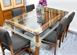 """PVC Transparent plain 6 Seater Dining Table Cover with golden Lace / 60x90 inch"""""""