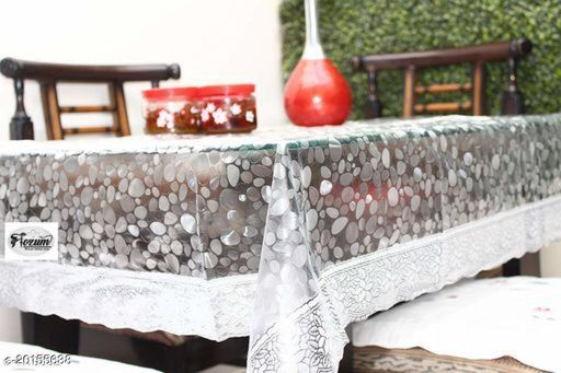 """PVC Transparent bubble 6 Seater Dining Table Cover with silver Lace / 60x90 inch"""""""