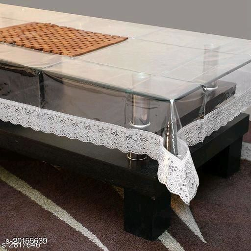 PVC Transparent plain 4 Seater  Center Table Cover with silver lace, Size-40x60 Inch, Anti Skid, Waterproof