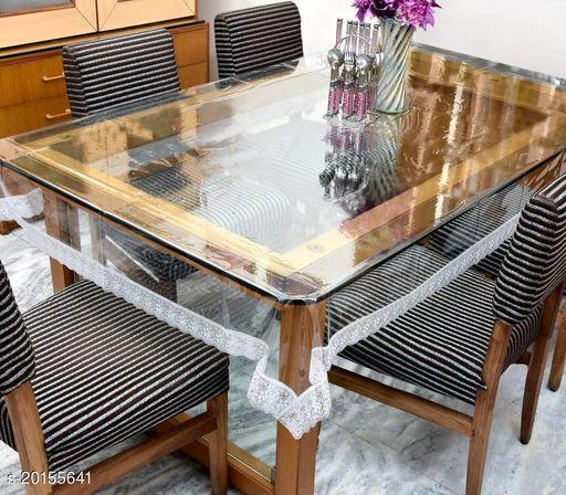 """PVC Transparent plain 6 Seater Dining Table Cover with silver Lace / 60x90 inch"""""""