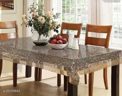 """PVC Transparent bubble 6 Seater Dining Table Cover with golden Lace / 60x90 inch"""""""