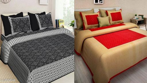 Sakshi Textles's Jaipuri Double Bed Bedsheet Combo Pack 2 Bedsheet with 4 Pillow Cover