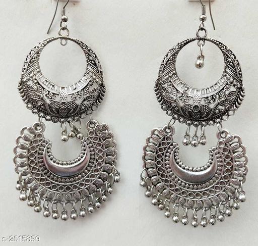Graceful Oxidized Metal Women's Earring