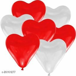 Style Secrets Premium Quality Heart Shape Glowing Red and White Balloons [ Pack of 50 Pcs ]