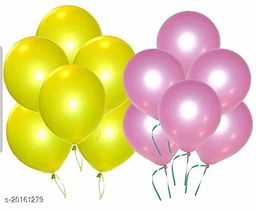 Style Secrets Combo of Metallic Pink and Yellow Balloons for Parties [ Pack of 50 Pcs ]