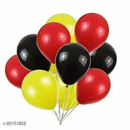 Style Secrets Combo of Metallic Black, Red and Yellow Balloons for Parties [ Pack of 60 Pcs ]