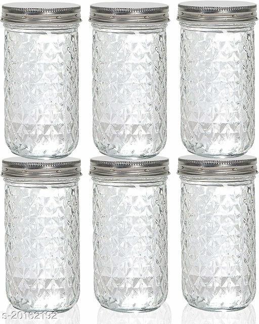 Modern High Ball Mason Glass Jars For Kitchen and Fridge storage With Airtight Silver Lid 320 ML (6)