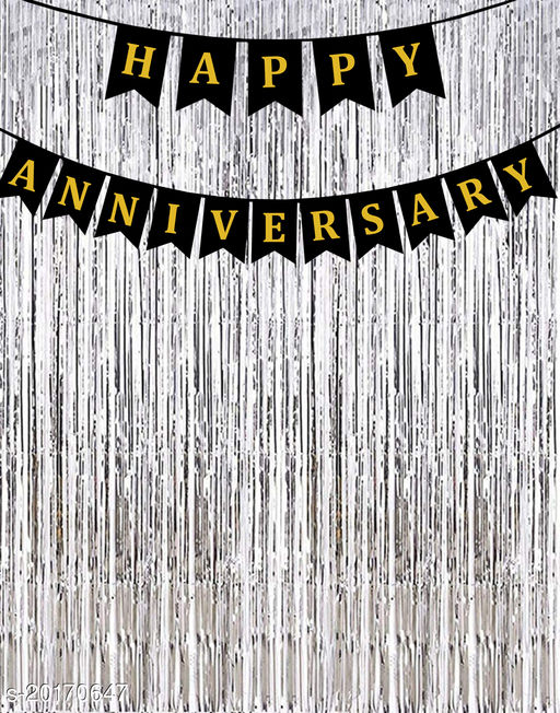 """Style Secrets Black Happy Anniversary Banner with 2 Silver  3"""" by 6"""" Fringe Curtains"""