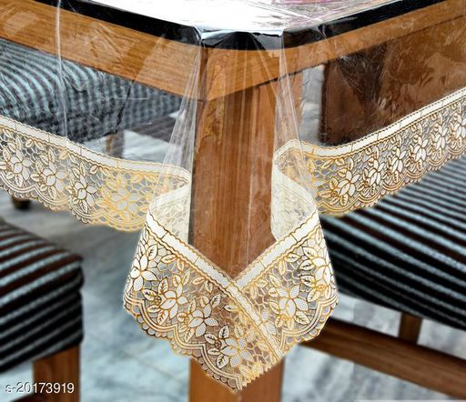 PVC Transparent plain 4 Seater  Center Table Cover with golden lace, Size-40x60 Inch, Anti Skid, Waterproof