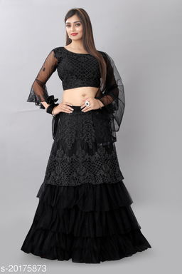 Arvika Black Nylon Net Glitter Coding Semi Stitched Lehenga Choli with Dupatta