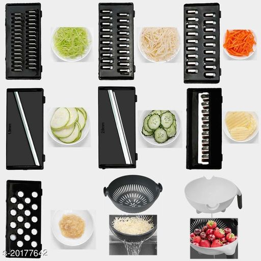 DARKSHRI 7 in 1 Vegetable Cutter with Drain Basket,Slicer Salad Machine Kitchen Tool Multifunctional Vegetable Mandoline Slicer 2L Capacity Rotate Vegetable Chopper(MULTI COLOR)