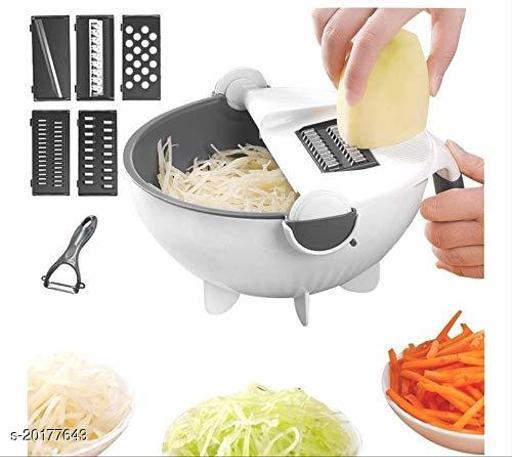 7 in 1 Vegetable Cutter with Drain Basket, Multifunctional Vegetable Mandoline Slicer 2L Capacity Rotate Vegetable Chopper Graters, Kitchen Food Slicer Salad Machine Kitchen Tool (MULTI COLOR)