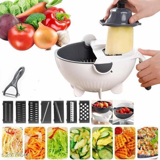 Kitchen Multifunction Vegetable Fruit Cutter with Drain Basket, 10 in 1 Mandoline Slicer Hand Guard Handle Detachable Blade (Multicolor)