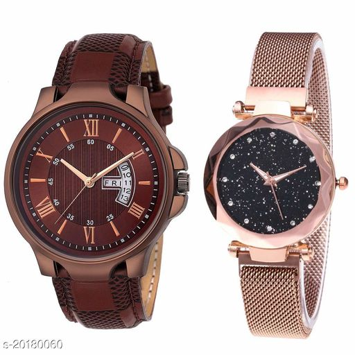Analogue Men's & Women's Watch (Pack of 2) ( Brown Dial & Strap )