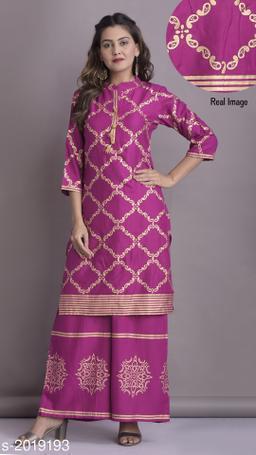 Women Rayon Printed Kurta Set with Skirt