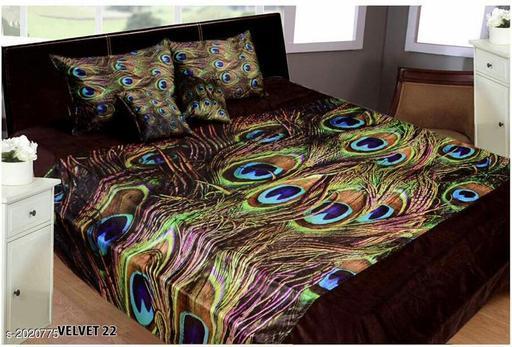 Elegant Printed Double Velvet Bedsheet