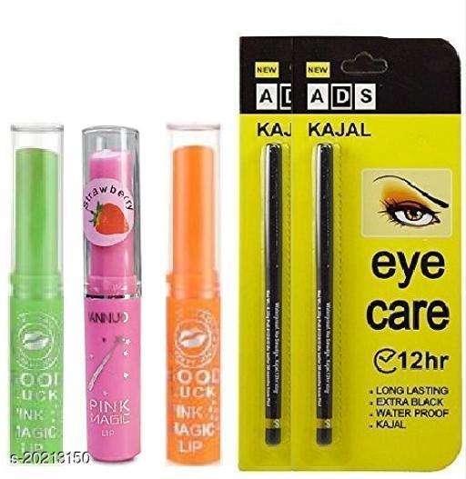 Premium Natural Pink Magic Lip Balm Set of 3 with Longlasting Waterproof Eye Care Kajal pack of 2