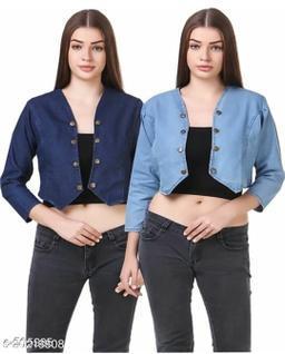 Lee Martin Denim Women Shrug/Jacket for Girls (Pack Of 2)