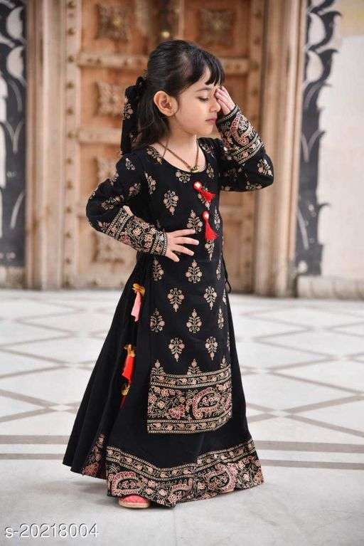 Beautiful Rajasthani Jaipuri  Printed Double Layer Gown for Kids