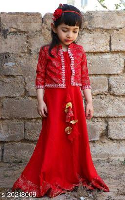 Beautiful Rajasthani Jaipuri  Printed Gown With Jacket for Kids