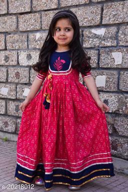 Beautiful Rajasthani Jaipuri  Printed Gown for Kids