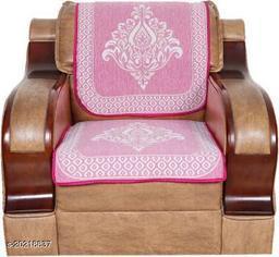 Velvet, Cotton Sofa Cover  (Pink Pack of 6)