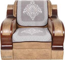 Velvet, Cotton Sofa Cover  (Brown Pack of 6)