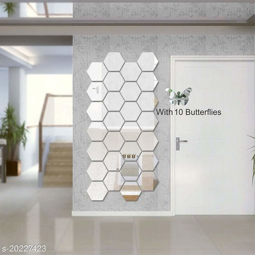 Atulya Arts 3D Silver Hexagon Decorative Acrylic Mirror Wall Stickers (Pack of 28) with 10 Butterfly Stickers