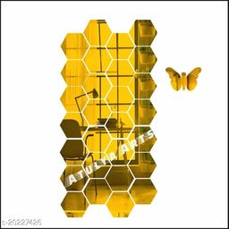 Atulya Arts 3D Golden Hexagon Decorative Acrylic Mirror Wall Stickers (Pack of 28) with 10 Butterfly Stickers