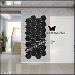 Atulya Arts 3D Black Hexagon Decorative Acrylic Mirror Wall Stickers (Pack of 28) with 10 Butterfly Stickers