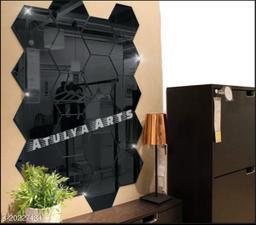 Atulya Arts 3D Black Hexagon Decorative Acrylic Mirror Wall Stickers (Pack of 20)