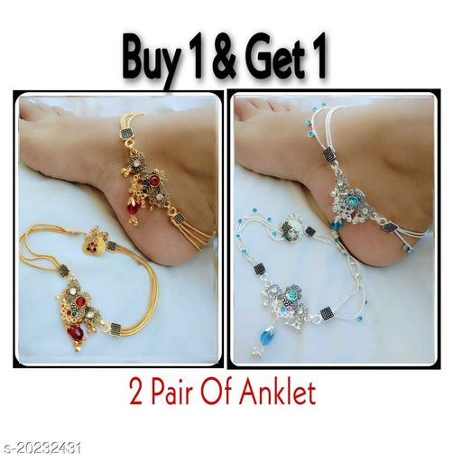 Womens Gold Plated Combo Anklets Pack of 2