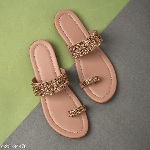 Stylish Women's Synthetic Gold Flats