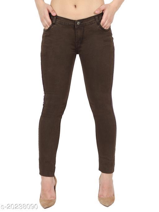 Coffee, Women Side Strip Basic Silky Denim Low Rise, Skinny Fit Stretchable Jeans