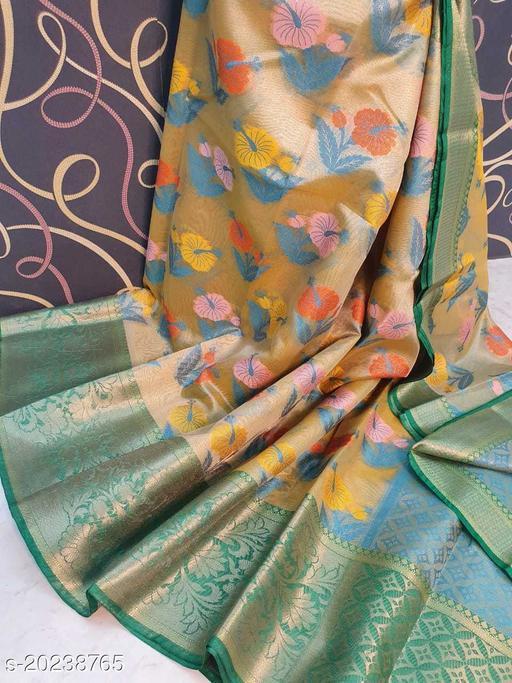 Banarasi Tissue Alfi Silk Saree Fancy With Blouse