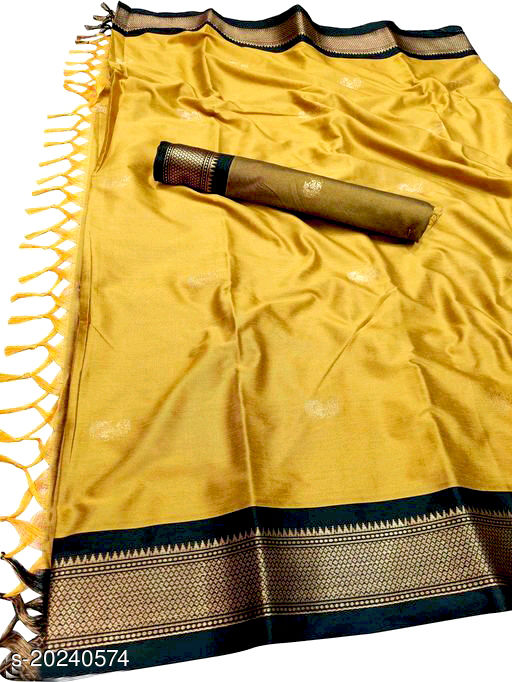 MH Trendy Paithani Silk saree With Attached Contrast Blouse Piece