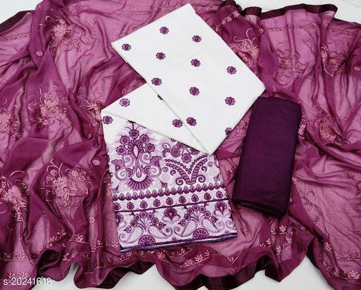 INFINIYA Women's Dress Material (White pari)