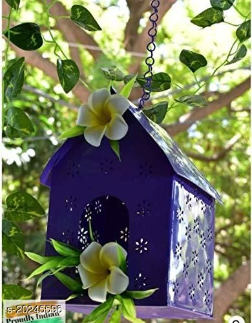 Pottery Studio Roof Hanging Purple Metal Bird House for Garden/Balcony/Outdoor Décor - Pack of 1