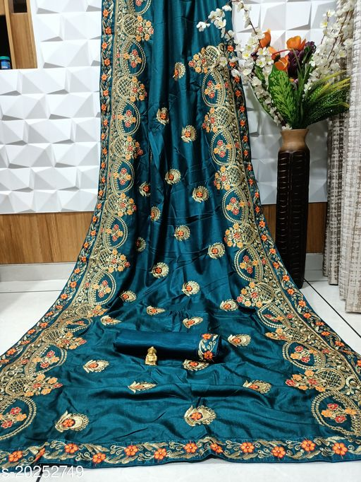Designer Embroidery work Saree Stone work With Blouse