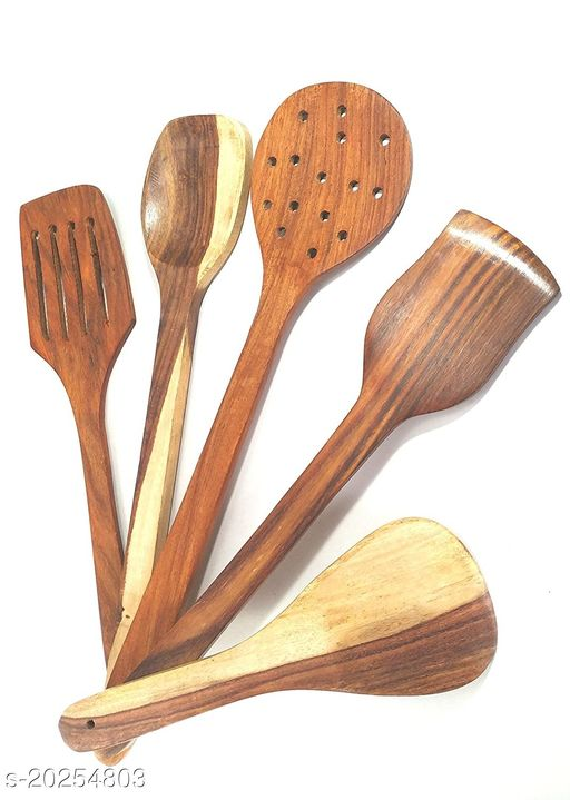 SHAH EMPORIUM wooden tools for cooking spoons nonstick wall mount hole design for stand five pen spoon spatulas serving kitchen utensils tablespoon kitechen gadgets kitchenware set of 5 cookeware
