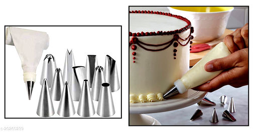 Cake Decorating Set Frosting Icing Piping Bag Tips with Steel nozzles Reusable & Washable 12 Piece