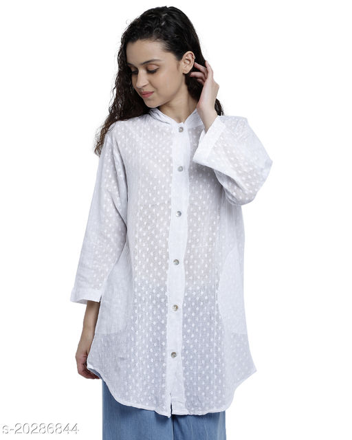 Women Embroidered Casual White Shirt